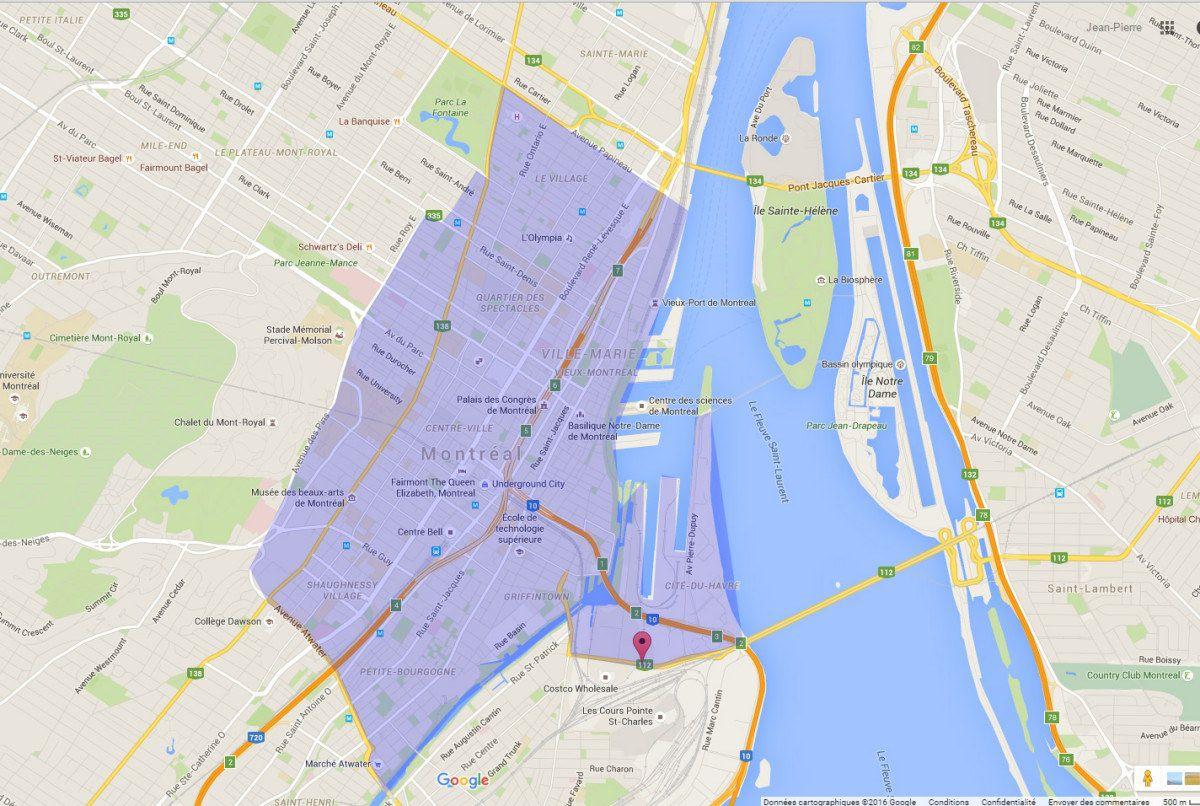 Territoire Montréal centre-ville - taxi